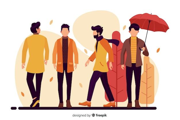 Le persone che indossano abiti autunnali Vettore gratuito