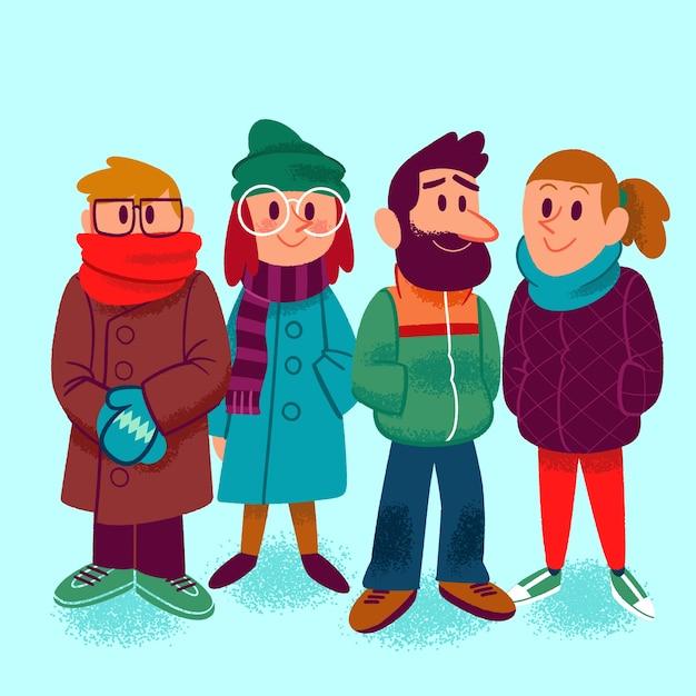 Le persone che indossano abiti invernali Vettore gratuito