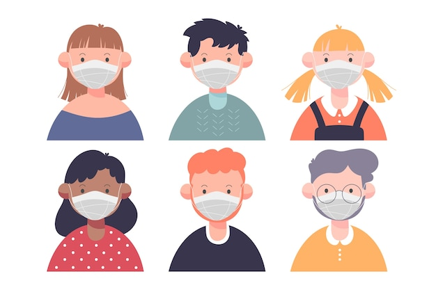 Le persone che indossano design piatto maschera medica Vettore gratuito