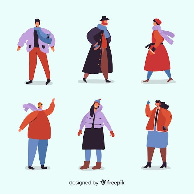 Le persone che indossano la collezione di abiti invernali Vettore gratuito