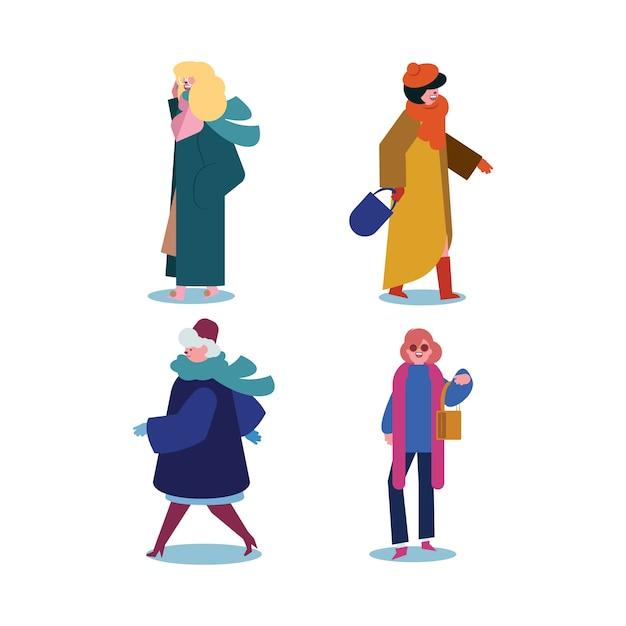 Le persone che indossano vestiti invernali Vettore gratuito