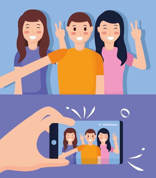 Le persone che prendono selfie Vettore gratuito