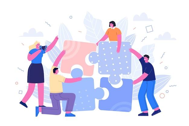 Le persone che uniscono i pezzi del puzzle Vettore gratuito