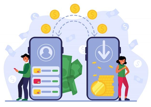 Le persone che utilizzano la banca mobile per la rimessa di denaro Vettore gratuito