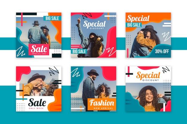 Le persone con cappelli modello di social media vendite modello Vettore gratuito