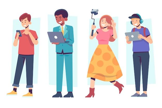 Le persone con dispositivi tecnologici per il tempo libero e il lavoro Vettore gratuito