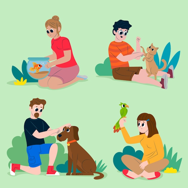 Le persone con diversi animali domestici design Vettore gratuito