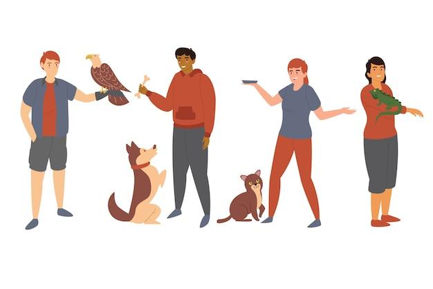 Le persone con diversi animali domestici insieme Vettore gratuito