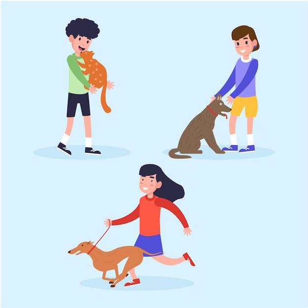 Le persone con diversi animali domestici Vettore gratuito