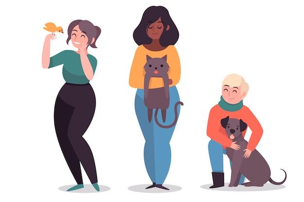 Le persone con simpatici animali domestici diversi Vettore gratuito