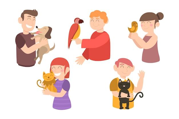 Le persone con tema diverso di animali domestici Vettore gratuito
