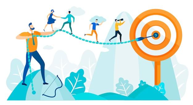 Le persone corrono all'obiettivo, abilità nella pratica della leadership. Vettore Premium