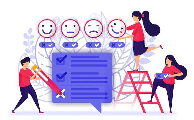Le persone danno una recensione e compilano un questionario o un esame. Vettore Premium