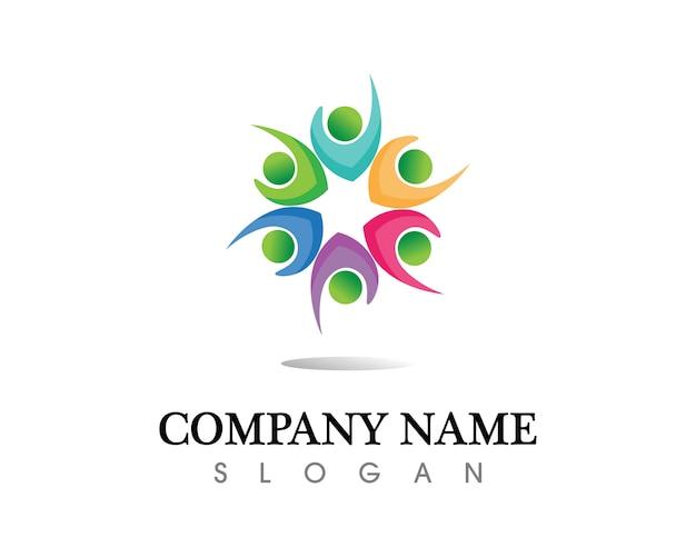 Le persone della comunità si preoccupano del modello di logo e simboli Vettore Premium