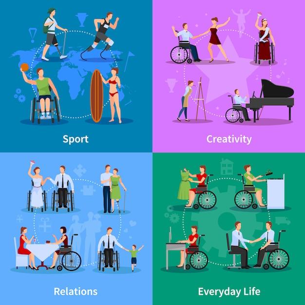 Le persone disabili vivono la vita Vettore gratuito