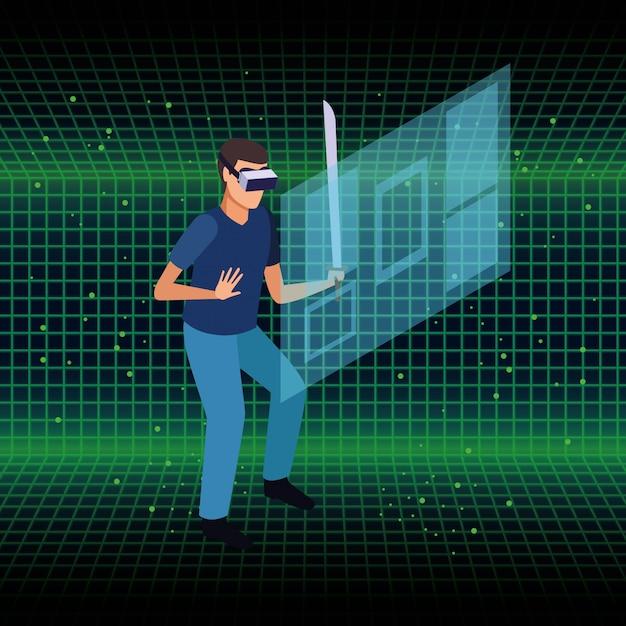 Le persone e la tecnologia degli occhiali per realtà virtuale Vettore gratuito