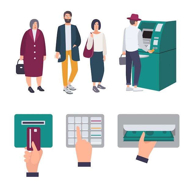 Le persone fanno la fila vicino a atm. operazioni inserire la carta di credito, inserire il codice pin, ricevere denaro. set di immagini colorate in stile piatto. Vettore Premium