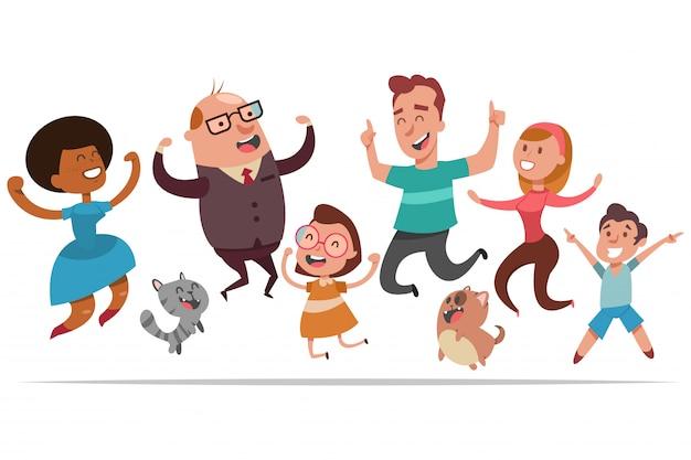 Le persone felici saltano di gioia. Vettore Premium