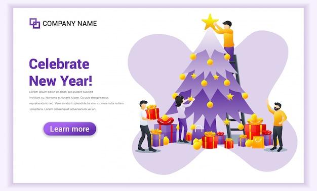 Le persone impegnate nella decorazione dell'albero di natale preparano per la festa e celebrano il banner del nuovo anno Vettore Premium