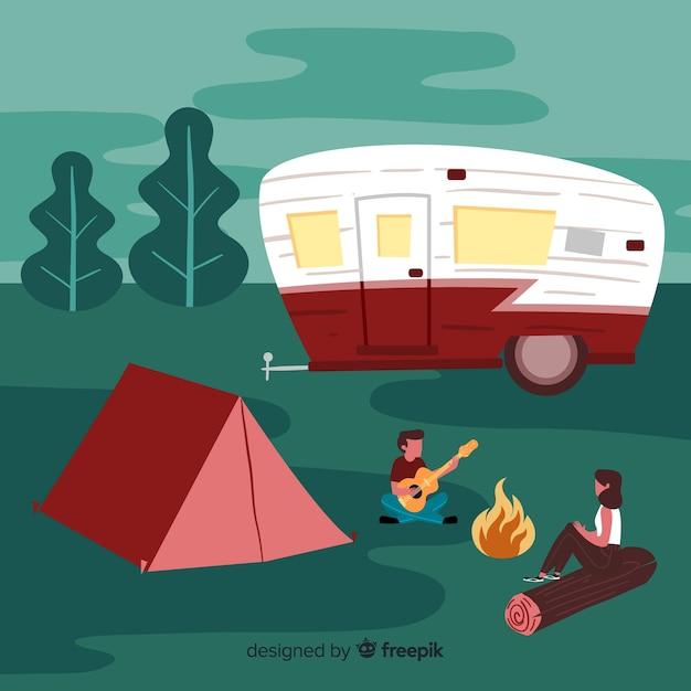 Le persone in campeggio nella natura Vettore gratuito