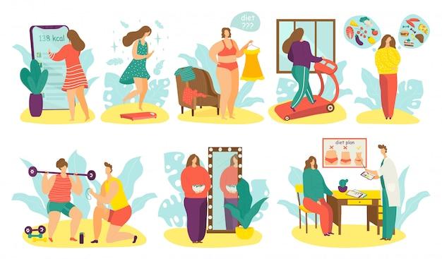 Le persone in sovrappeso sull'insieme dell'illustrazione di dieta, carattere grasso attivo della donna dell'uomo del fumetto perdono peso usando il programma di dieta su bianco Vettore Premium