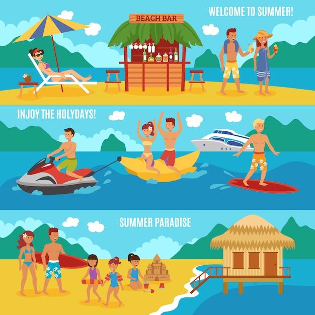 Le persone in spiaggia impostate Vettore gratuito