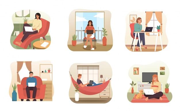 Le persone lavorano da casa. carattere di libero professionista che lavora al computer portatile a casa Vettore Premium