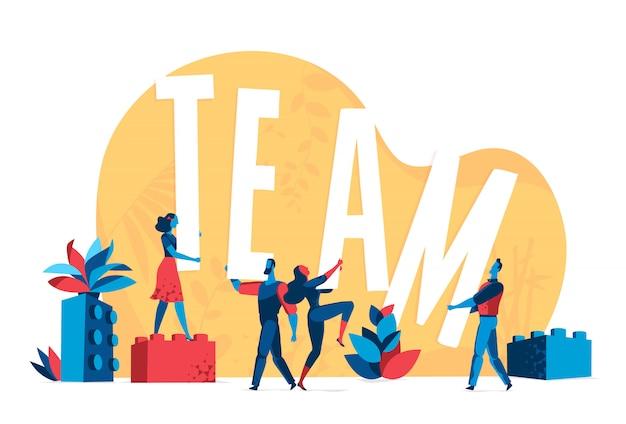 Le persone lavorano insieme su una grande idea Vettore Premium