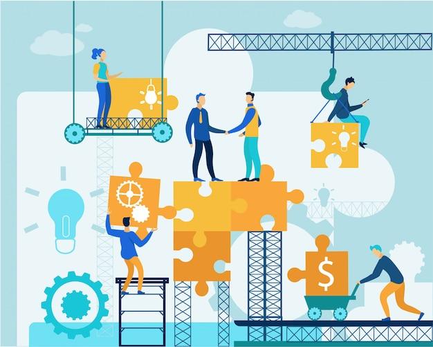 Le persone lavorano sul business puzzle Vettore Premium