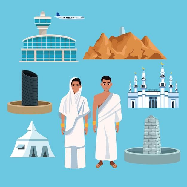 Le persone musulmane nel viaggio di hajj mabrur hanno messo le icone Vettore Premium