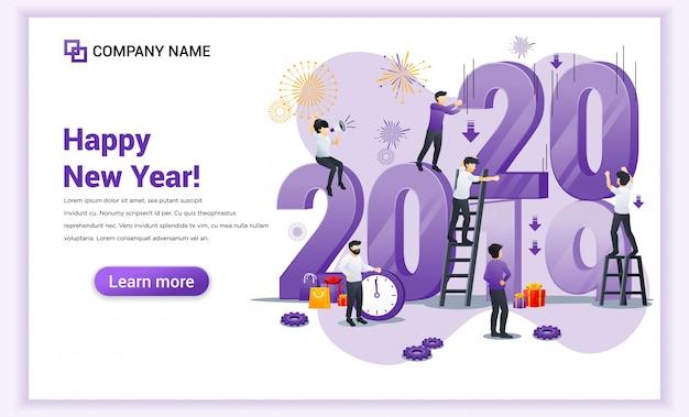Le persone si stanno preparando per il banner del nuovo anno 2020 Vettore Premium