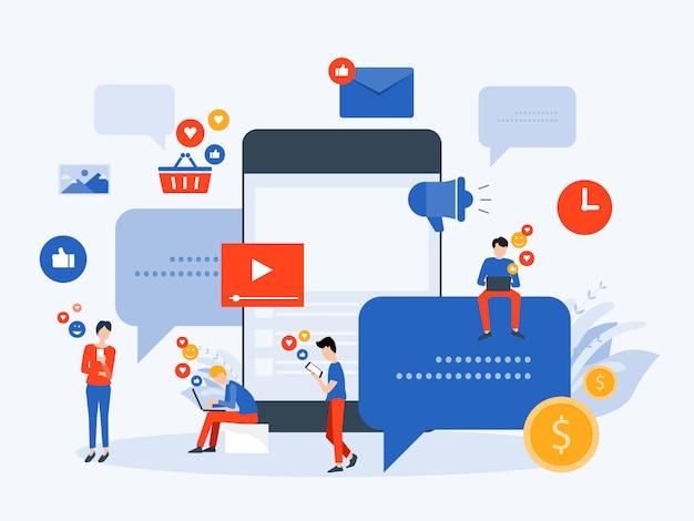 Le persone usano i social media per il concetto di business online Vettore Premium