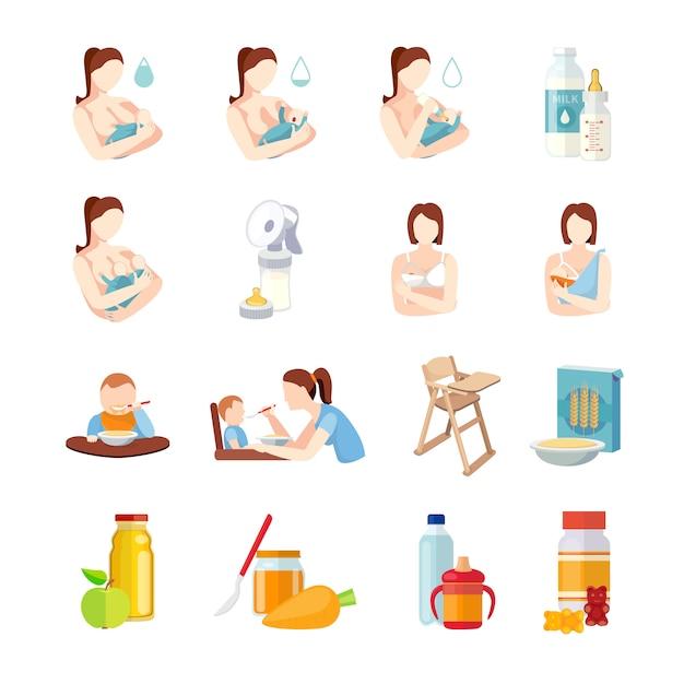 Le posizioni di allattamento al seno dei bambini ed i bambini del latte alimentano la formula con l'illustrazione di vettore isolata estratto piano dell'insieme di elementi del cucchiaio Vettore gratuito