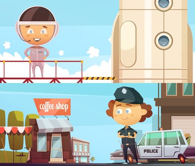 Le professioni della gente due bandiera orizzontale con i bambini svegli del fumetto in vestiti del poliziotto e dell'astronauta Vettore gratuito