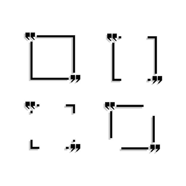 Le quattro aree nere per il testo sono raffigurate su uno sfondo bianco. Vettore Premium