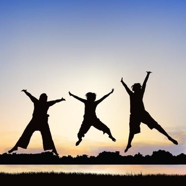 Le ragazze felici stanno saltando, sull'arte della siluetta. Vettore Premium