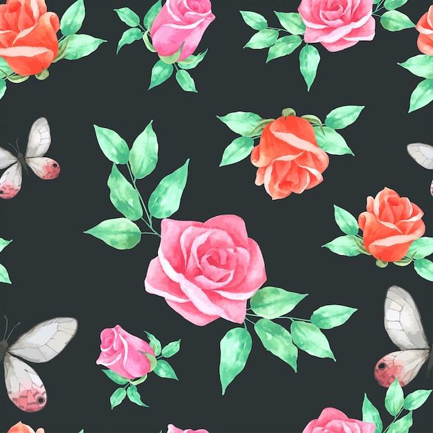 Le rose fioriscono il modello senza cuciture nello stile dell'annata dell'acquerello Vettore Premium