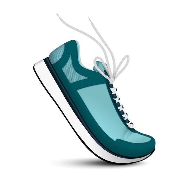 Le scarpe da tennis moderne di sport di colore blu con i laccetti bianchi realizzano la singola immagine sull'illustrazione isolata fondo bianco Vettore gratuito