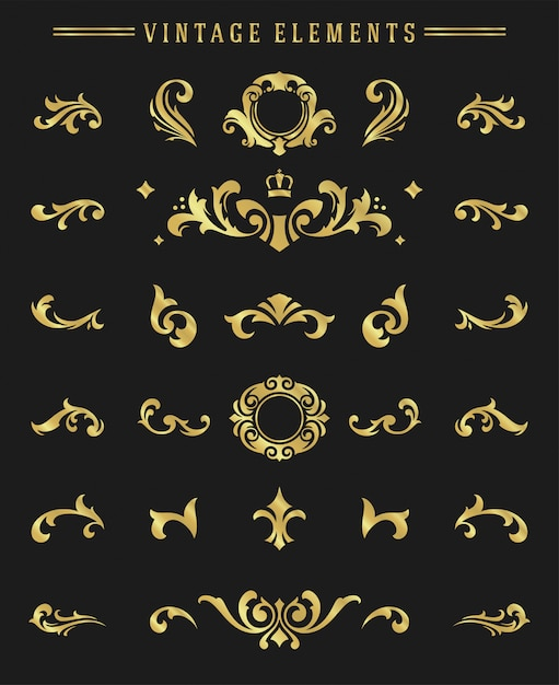 Le scenette degli ornamenti dell'annata hanno messo gli elementi floreali per progettazione Vettore Premium