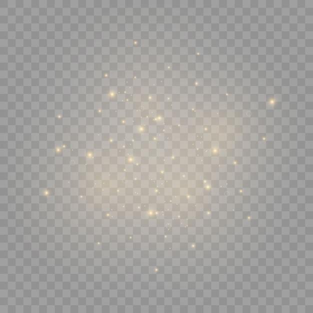 Le scintille di polvere e le stelle dorate brillano di luce speciale. Vettore Premium