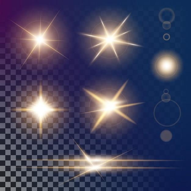 Le stelle a effetto bagliore brillano di scintille. Vettore Premium
