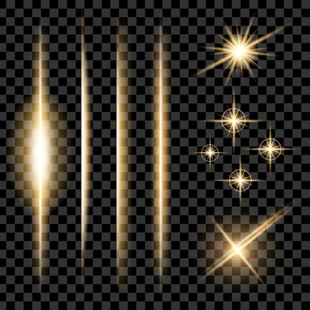 Le stelle ad effetto luce bagliore esplodono di scintille. Vettore Premium