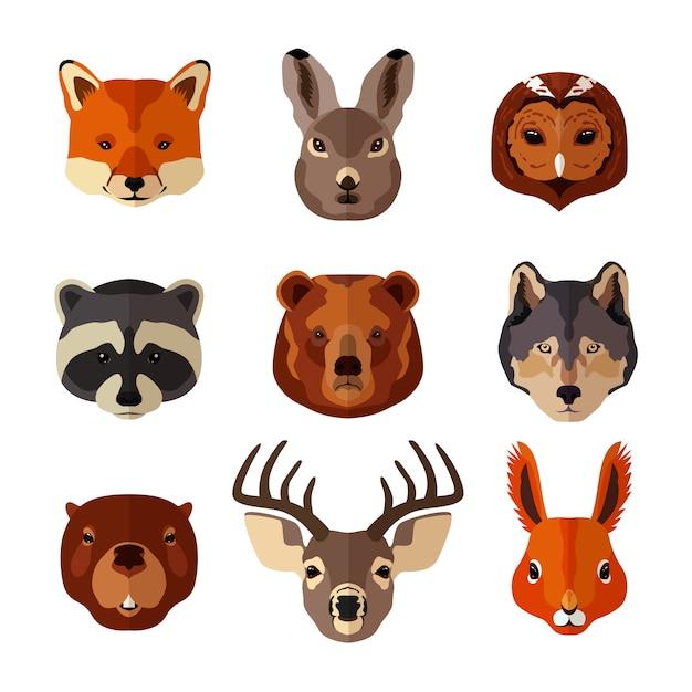Le teste di animali sono impostate su uno stile piatto Vettore gratuito