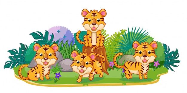 Le tigri stanno giocando insieme nel giardino Vettore Premium
