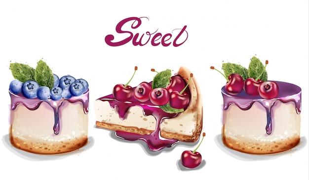 Le torte dolci hanno impostato l'acquerello Vettore Premium