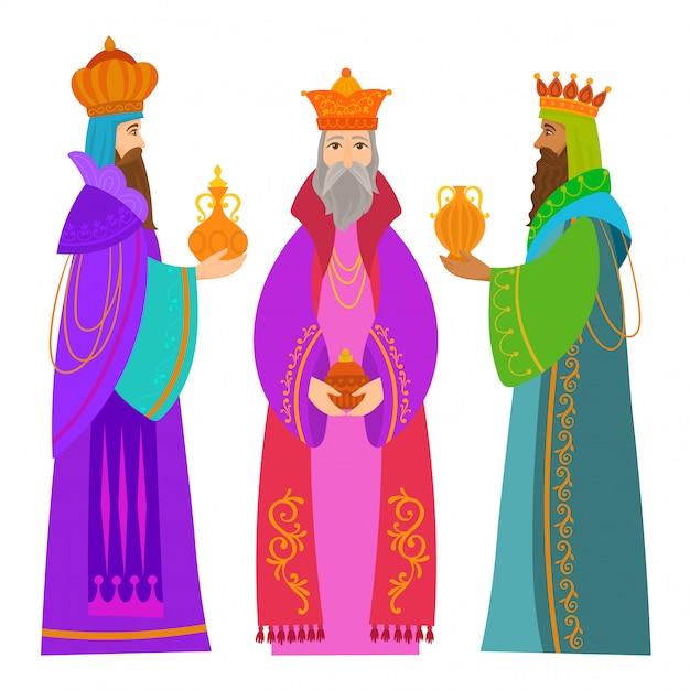 Le tre carte di chrismas dei re d'oriente Vettore Premium