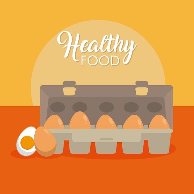 Le uova fresche ed organiche vector la progettazione grafica dell'illustrazione Vettore Premium
