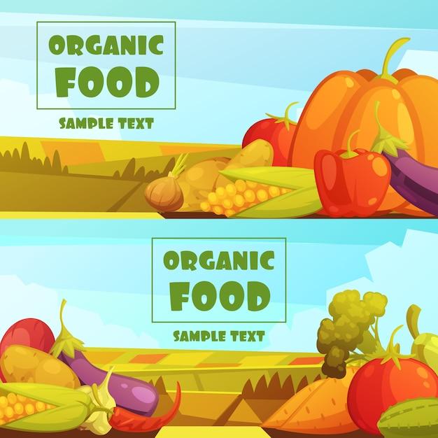 Le verdure coltivate organiche coltivate due retro campagna orizzontali raccolgono le insegne Vettore gratuito