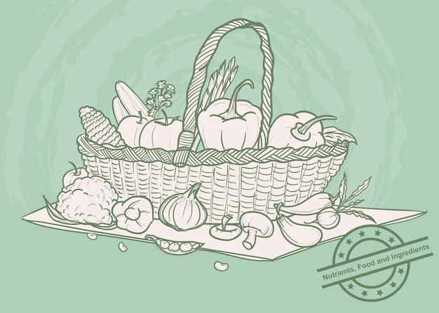Le verdure hanno messo in un canestro Vettore Premium