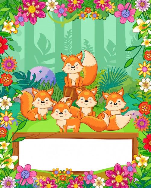 Le volpi sveglie con i fiori e lo spazio in bianco di legno firmano dentro la foresta. vettore Vettore Premium